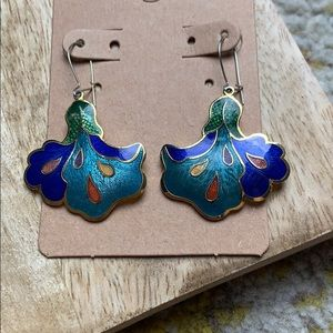 Vintage abstract peacock floral dangle earrings